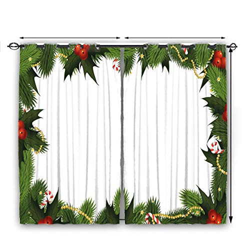 nooweihome New Year Semi-Blackout Curtains Frame Style Garland Pattern Mistletoes Candy Canes and Chain on Fir Tree Motif Décor Darkening Curtains W63 x L72 Fern Green Red