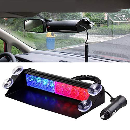 JINGBO Auto LKW Notfall Flasher Dash Strobe Warnung Licht Tagfahrlicht Flash Led Polizei Lichter 8 LEDs 3 Blinkende Modi 12V,Red/Blue