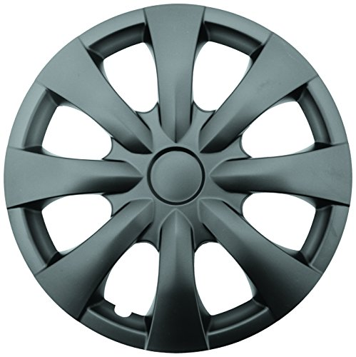 """Topline Products C80134-15B Satin Black 15"""" ABS Wheel Cover   Universal Hubcap   High Impact Strength   Heat-Resistant   Pack of 4"""