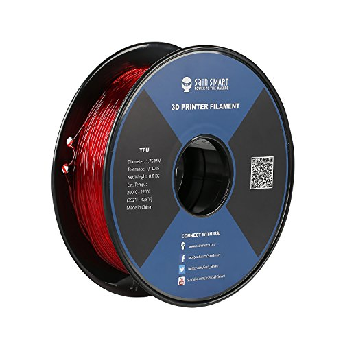 SainSmart Red Flexible TPU 3D Printing Filament, 1.75 mm, 0.8 kg, Dimensional Accuracy +/- 0.05 mm