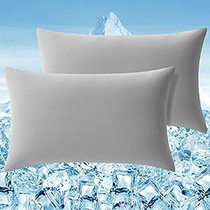 Elegear Funda de Almohada Enfriamiento 2 Set, Funda Protege Almohada con Fibra ARC-Chill Japonesa de Primera Calidad Almohada Protege Súper Suave Transpirable (Gris,50*75cm)