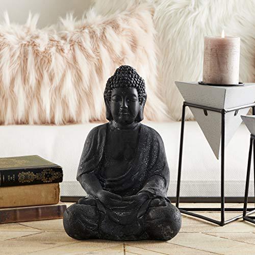 """Large Whitewashed Black Clay Buddha Statue Table Decor, 8"""" x 12"""""""