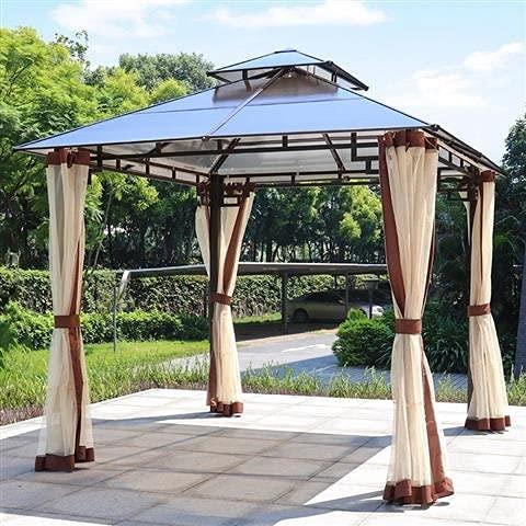 ZDYLM-Y Gartenpavillon mit Sichtschutzvorhängen und Moskitonetz, Doppeldach-Hardtop-Pavillon mit starkem Aluminiumrahmen für den Garten