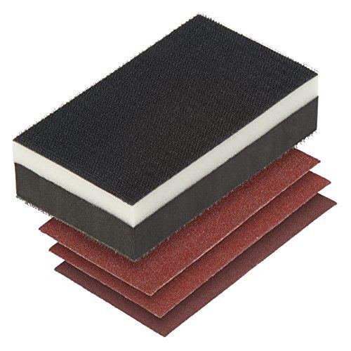 Wolfcraft 2892000 (L) kit, contenido: lijador manual, material esponjoso, con velcro en dos lados, 3 hojas de lijar adhesivas, corindón de grano 60,80,120 PACK 1, negro