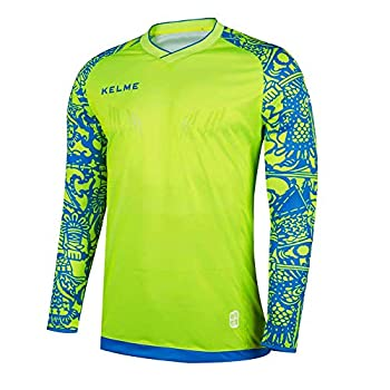KELME Kids Padded Goalie Shirt Youth Goalkeeper Jersey Long Sleeve Turf Training Soccer Uniform  Yellow 140cm