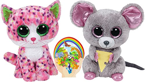 Ty Beanie Boos Sophie Pink Cat and Squeaker Mouse with Cheese Gift Set of 2 Plush Toys 6-8 inches Tall with Bonus Animals Sticker