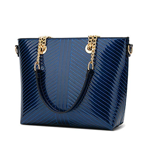 Coolives Borse Tote da Donna Classico Filo da Ricamo Borsa a Spalla con Tracolla Shopper in Vernice PU Blu