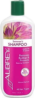 Aubrey Swimmer's Shampoo   Removes Chlorine & Buildup, Protects   Jojoba Oil & Quinoa Protein   All Hair Types   75% Organic Ingredients   11oz