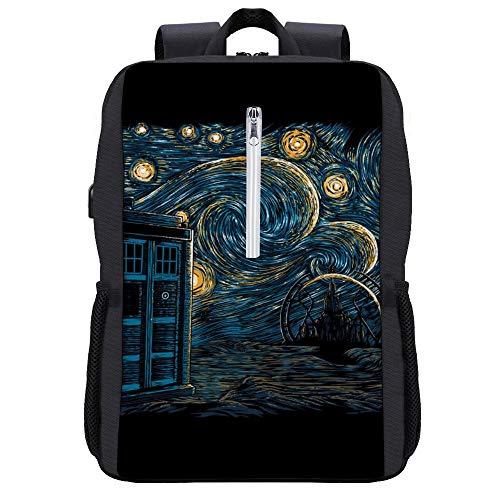 Starry Gallifrey Doctor Who Tardis Van Gogh Rucksack Tagesrucksack Büchertasche Laptop Schultasche mit USB-Ladeanschluss