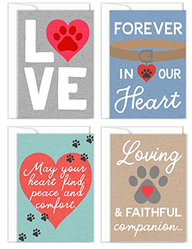 Tiny Expressions 4 Pet Sympathy Cards with Inside Messages and Envelopes