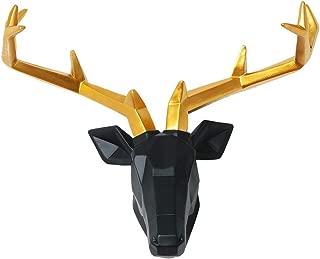 20 inch Faux Taxidermy Large Resin Deer Head in Animal Head Wall Decor Deer Head Wall Mount Sculpture (Black Head Gold Antlers)