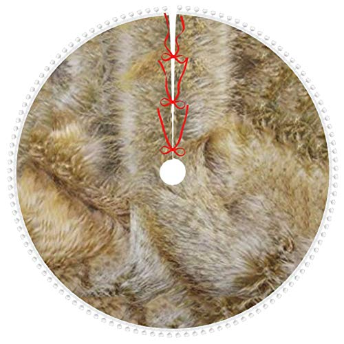 ZVEZVI Plush Natural Browns Faux Fur Print Christmas Tree Skirt with Pom Pom Trim for Holiday Christmas Decorations, Double Layers Xmas Tree Skirt Gifts 36 inch