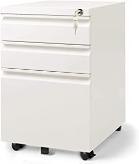 DEVAISE 3 Drawer Mobile File Cabinet with Lock, Fully Assembled Except Casters, Letter/Legal Size, White