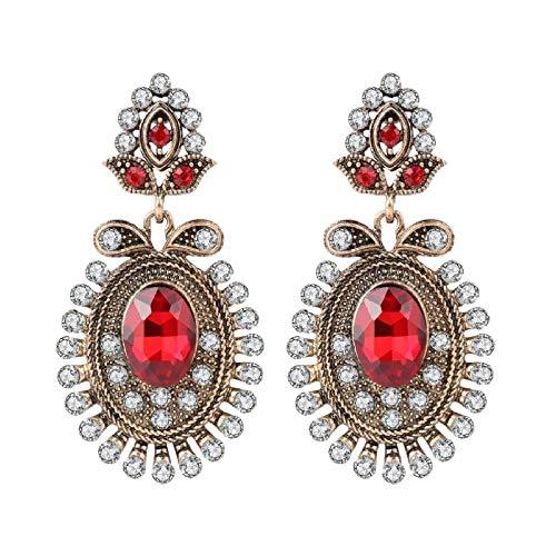 lbince Pendientes Regalos de Fiesta Pendientes Rojos para Mujer Moda Oro Antiguo Color Blanco Flor de Cristal Joyería Vintage