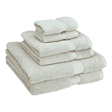 Superior 900 GSM Luxury Bathroom 6-Piece Towel Set, Made of 100% Premium Long-Staple Combed Cotton, 2 Hotel & Spa Quality Washcloths, 2 Hand Towels, and 2 Bath Towels - Stone