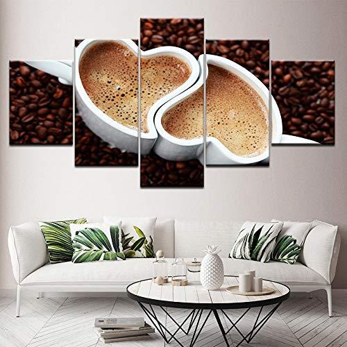 TXFMT Geen frame canvas decoratie schilderij handgemaakte DIY Koffie Bean foto hartvormige beker Keuken restaurant 5 stuk moderne landschap artwork hd foto's schilderijen op canvas muur kunst voor woonkamer 150*100CM
