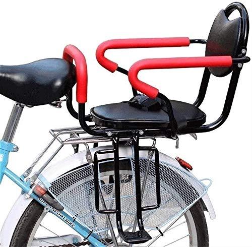 Asiento de Bicicleta para Niños, Asiento Trasero de Bicicleta Asiento de Bicicleta para Niños, para Fijación de Bicicleta Para Adultos con Reposabrazos y Pedales Antideslizantes Cinturón de Seguridad