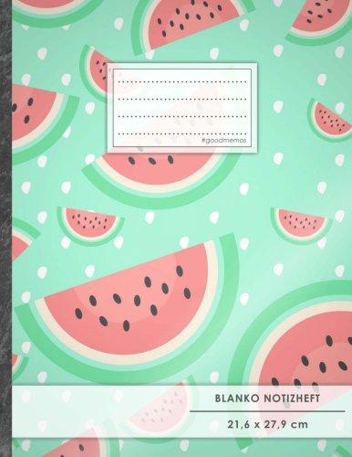 """Blanko Notizbuch • A4-Format, 100+ Seiten, Soft Cover, Register, """"Wassermelone"""" • Original #GoodMemos Blank Notebook • Perfekt als Zeichenbuch, Skizzenbuch, Blankobuch, Leeres Tagebuch"""