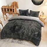 MEGO Luxury Shaggy Duvet Cover Set Ultra Soft Faux Fur Fluffy Comforter Set Fuzzy Bedding 3 Pieces(1 Duvet Cover + 2 Pillow Shams),Zipper Closure(Queen,Dark Gray)