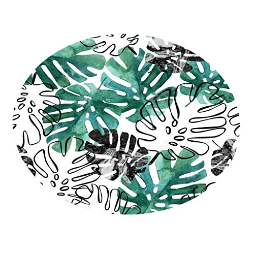 Runder Teppich Serria® 55cm Pflanze Drucken Badteppiche Umweltfreundlich weich wasserabsorbierend feinem Flanell Matte perfekte für Schlafzimmer,Wohnzimmer,Badezimmer,Küche Durchmesser:55 cm E