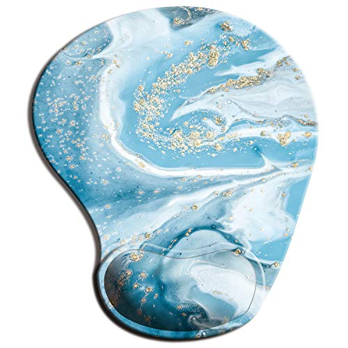 ITNRSIIET Mouse Pad, Ergonomic Mouse Pad with Gel Wrist Rest Support, Floral Mousepad with Lycra Cloth, Non-Slip PU Base for Gaming Computer, Laptop, Home, Office & Travel Light Blue Marble