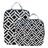 MONTOJ Figura geométrica en blanco y negro cubos de embalaje de viaje, juego de 3 organizadores de e...