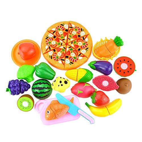 perfeclan 24 Piezas niños simulan Juego de Roles Cocina Fruta Verduras Comida Juguete Cortar Conjunto Pizza, Fresa, Seta, etc.