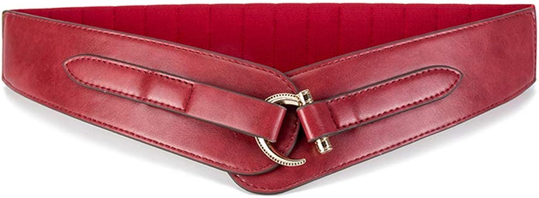 "Ladies Belts Women's Leather Belt Leather Ladies Belt 2.55""Wide golden Buckle for Jeans Dresses Pants (color   Red)"