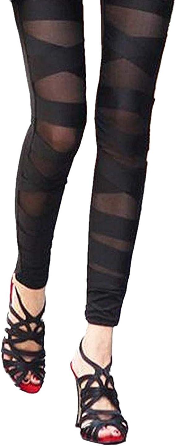 Aventy Women Girls Sexy Solid Color Bandage Mesh Leggings Tight Pants