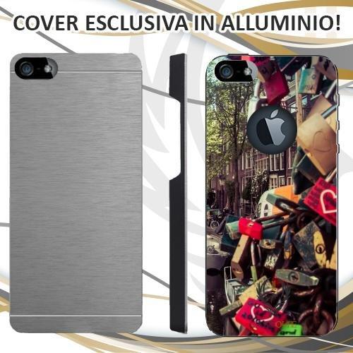 Custodia Cover Case Love Amsterdam per iPhone 5 5S in Alluminio