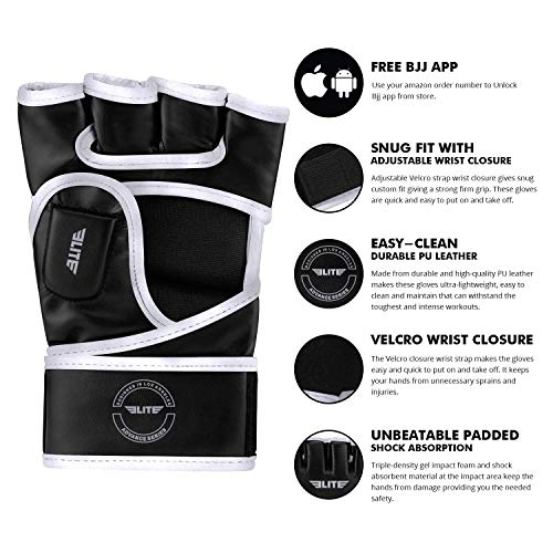 Elite Sports MMA UFC Gloves for Men, Women, and Kids, Best Mixed Martial Arts Sparring Training Grappling Fighting Gloves (Silver/Black, Large/X-Large)