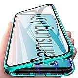 Cover per Samsung A51, Adsorbimento Magnetico Custodia per Samsung Galaxy A51, E-Lush Case 360 Gradi Doppi Lati Trasparente Vetro Temperato Caso Metallo Schermo Intero Flip Cover, Verde