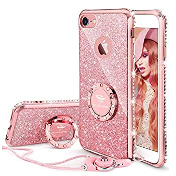 iPhone 6s Plus Case Glitter Cute Phone Case Girls with Kickstand Bling Diamond Rhinestone Bumper Ring Stand Thin Soft Protective Pink Apple iPhone 6 Plus 6s Plus Case for Girl Women - Rose Gold
