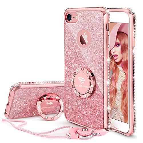 Fundas iPhone 6s Plus,Ultra Slim Soft TPU Purpurina Fundas Movil con Diamantes Glitter Anillo Protectora Apple iPhone 6 Plus,iPhone 6s Plus para Mujer- Oro Rosa