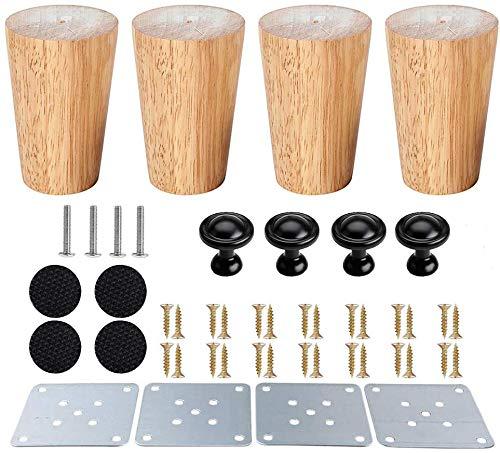 Mengger 4 Stück Holz Möbelfüße rund Tischbeine Möbelbeine konisch sofabeine sockelfüße küche Holzfarbe Eiche für Stühle Schrank Sofa schraubenbolzen mit Schrauben Filzgleiter mit Möbelgriffe (10cm)