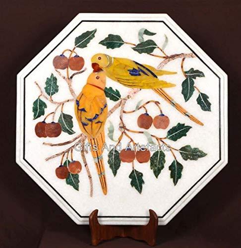 Tavolino da salotto a forma di ottagono, con intarsio in marmo bianco, 30 cm, con coppia di uccelli