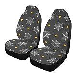 Qilmy 1 paquete de fundas de asiento delantero antideslizante para automóviles, asientos de cubo, para decoración universal, furgoneta, camioneta, SUV, bonitas telarañas punteadas