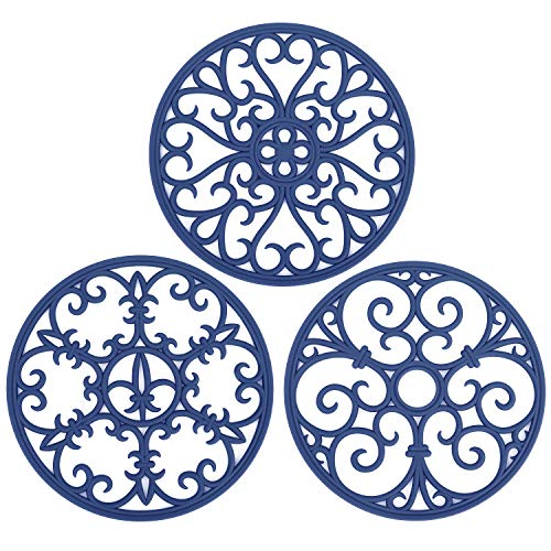 Non Slip Silicone Carved Trivet Mats Set For Dishes- Heat Resistant Coasters-Modern Kitchen Hot Pads For Pots & Pans | (Round, Set of 3, Navy Blue)