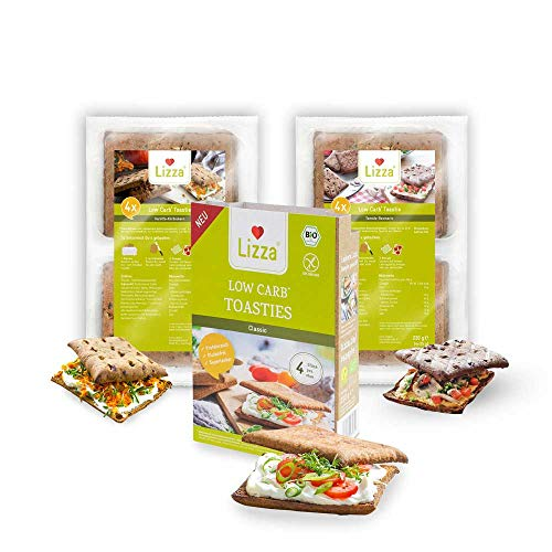 Lizza Low Carb Toasties Probierset | Bis zu 94% weniger Kohlenhydrate | Bio. Glutenfrei. Vegan. Keto | Protein- & Ballaststoffreich | Ohne Konservierungsstoffe | 12 Toasties | Vorrat für 2 Wochen