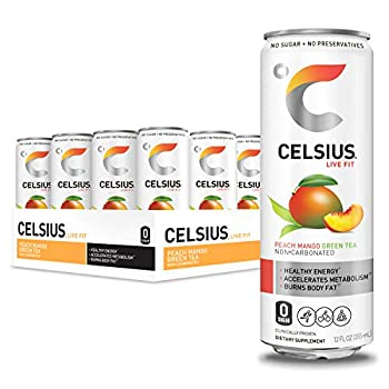 CELSIUS Peach Mango Green Tea Non-Carbonated Fitness Drink Zero Sugar 12oz Slim Can  Pack of 12
