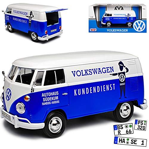 Motormax Volkwagen T1 Kundendienst Hamburg Blau Weiss 1950-1967 1/24 Modell Auto mit individiuellem Wunschkennzeichen