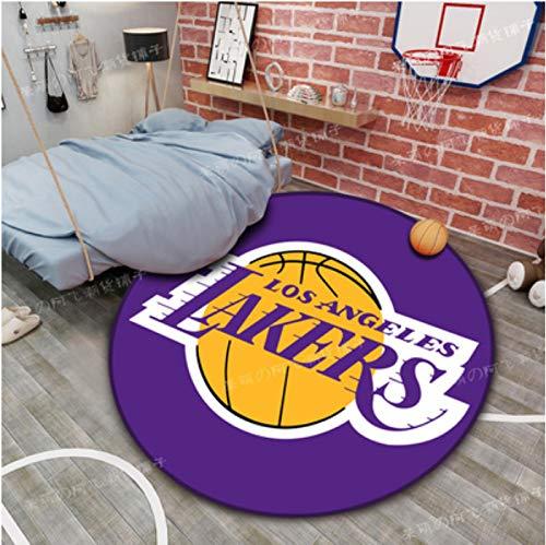 zzqiao Tappeto Rotondo Cartone Animato Anime Lakers NBA Camera dei Bambini Creativa Camera da Letto Studio Sedia per Computer Cestino Sedia per Trasferimento Stuoia Diametro Antiscivolo 140 Cm