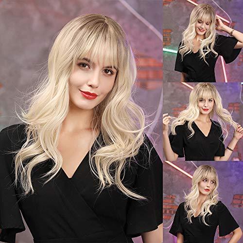 HAIRCUBE Vrouwelijke lang krullende pruiken voor vrouwen Bruine wortel met omber blond haar Synthetische pruiken met pony