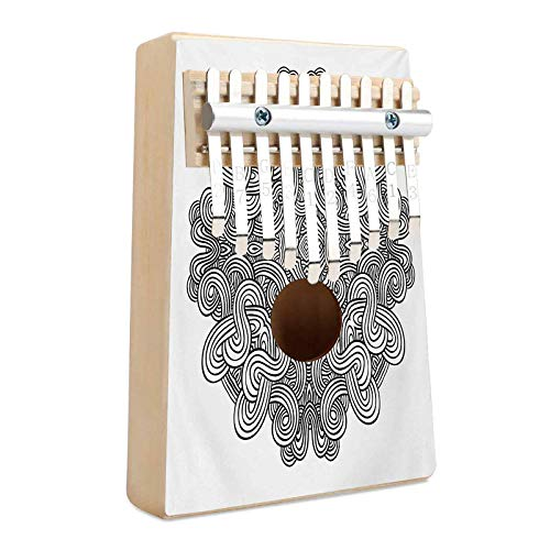 Celtic Kalimba 10 Keys Thumb Piano Circular Macro Ancient Celtic Knot with Twisted Spirals and Lines Classic Cultural Portable Mbira Finger Piano Gift for Kids Adult Beginners Professional Black Whi