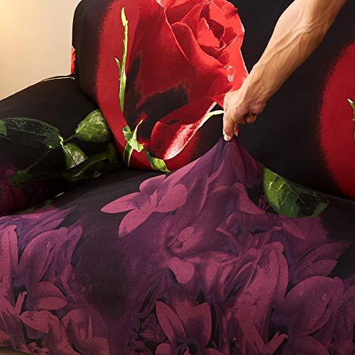 Elegantstunning - Funda elástica para sofá (3D, diseño de rosas rojas, 45 x 45 cm), diseño de rosas rojas