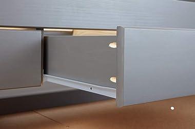 PEGANE Lit Fonctionnel avec 2 Plateaux et 3 tiroirs en pin Massif Coloris Gris - 90 x 200 cm
