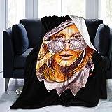 MaddLees Jennifer Lopez Jlo Fleece Blanket Bed Linen Cozy Microfiber Warm Yoga Mats Lightweight Super Soft Luxury Sofa Blankets Throw Size 50x40 60x50 80x60 Inch,60'X50'