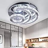 CXGLEAMING Modern Crystal Chandelier, LED Moon Crystal Ceiling Light Cool White Pendant Lighting Flush Mount Crystal Pendant Lamp Fixture for Dining Room Bathroom Bedroom Living Room