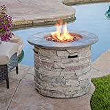 Christopher Knight Home Hoonah Circular MGO Fire Pit with Grey Top - 40,000 BTU, 32', Natural Stone...