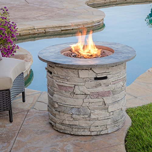 """Christopher Knight Home Hoonah Circular MGO Fire Pit with Grey Top - 40,000 BTU, 32"""", Natural Stone / Grey Top"""